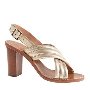 J. Crew Marcie Metallic Gold leather Sandal